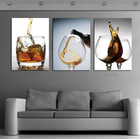 3 Panels Modern Vintage Kitchen Wine Glass Wall Painting Living Room Art Picture Unframed Cancas Painting