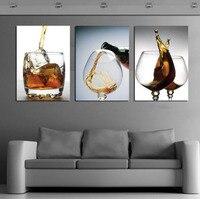 3 Painéis Pintura Moderna Cozinha Parede De Vidro Do Vinho Do Vintage Sala de estar Retrato Da Arte Sem Moldura Pintura Cancas