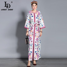 LD LINDA DELLA Spring Fashion Runway Maxi Dresses Women's Long Sleeve Elegant Belt Split Vintage Casual Floral Print Long Dress(China)