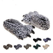 2016 New Arrival Predators Paws Winter Women Men House Slippers Fashion Fur Bear's paw Indoor/Floor Slippers Funny Slippers GY-