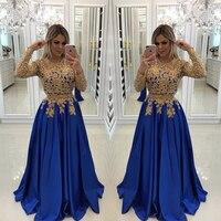 Современный Королевский синий вечернее платье золотые кружева аппликации с длинным рукавом Выпускной Бесплатная Индивидуальный заказ Мак