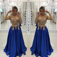 Modern Royal Blue Evening Gown Gold Lace Appliques Long Sleeve Prom Gowns Free Custom Made Maxi Party Dresses Vestidos de Fiesta