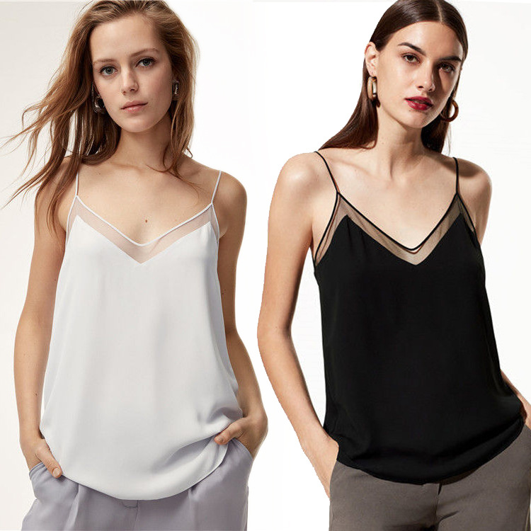 Women Sexy Patchwork Lace   Tank     Tops   New 2019 Woman V-neck Spaghetti Blouse Ladies Basic Short Shirt   Top   Free Shipping