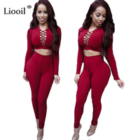 Elegant Two Piece Rompers Womens Jumpsuit Sexy V Neck Tie Up Long Sleeve Bodysuit Night Club