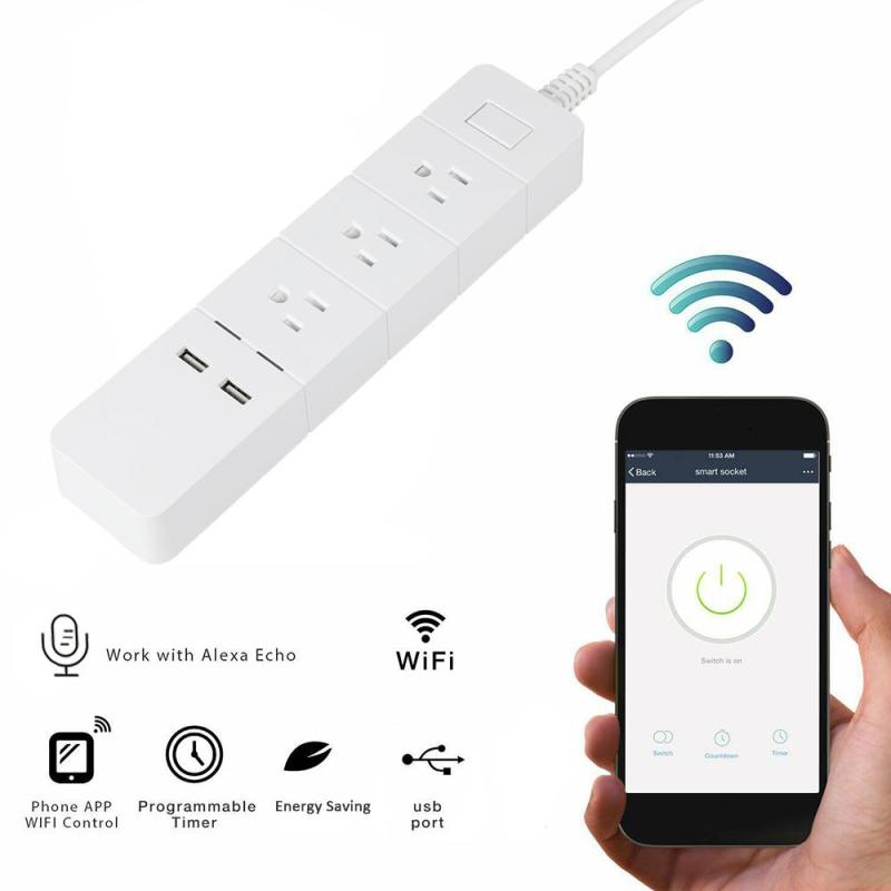 WiFi Smart Socket 3 AC Outlets 2 Scheduling Charger Work with Amazon Alexa WiFi Timing US Plug Power Strip App Remote Control lemaic wifi smart socket t support amazon w app alexa voice control remote control timing function for ac 110 240v us plug