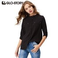 GLO-STORY di Alta qualità delle donne camicetta camicia 2017 di Estate Femminile Camicia Casual Elegante Maniche Lunghe Solid pocket Femme Top WCS-1008