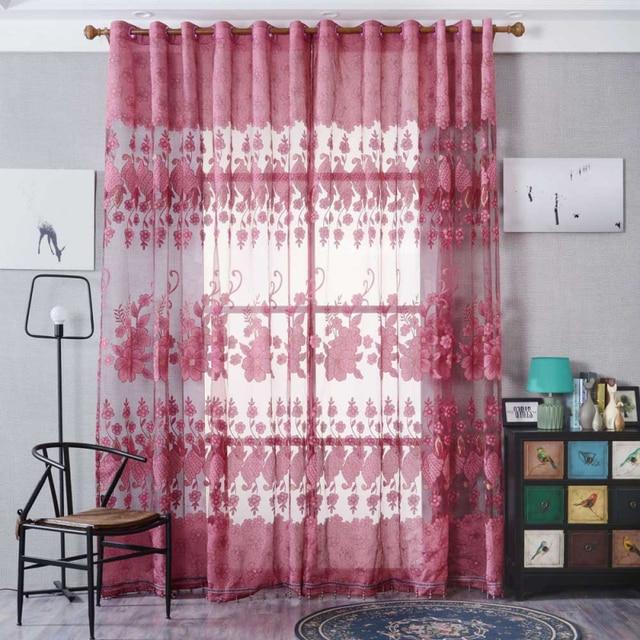Ouneed Flowers Window Treatment Kitchen Curtains 100cmx250cm Modern ...