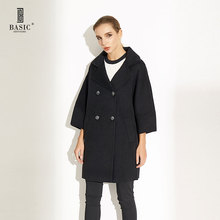 Basic Editions Women Spring Autumn Double Breasted Batwing Three Quarter Sleeves Short Wool Coat - CH095(China)