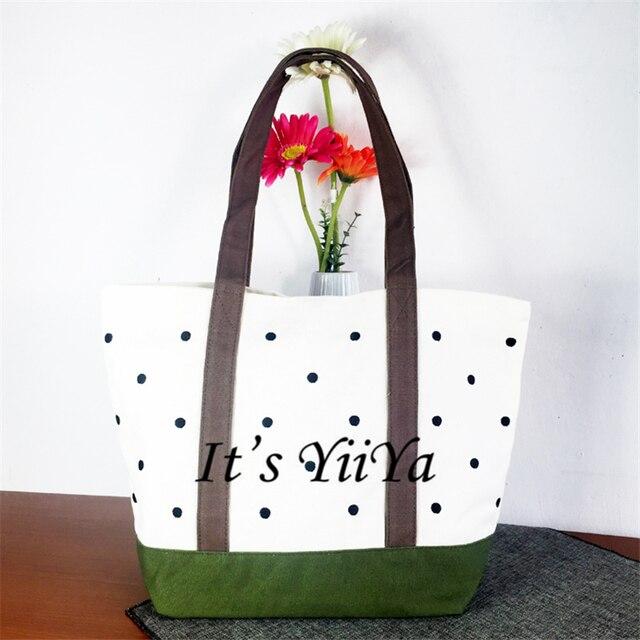 Free Shipping Casual Cotton Shopping Bags with Dots Pattern Women Handbags Shoulder Bags Shopping Bag HL138