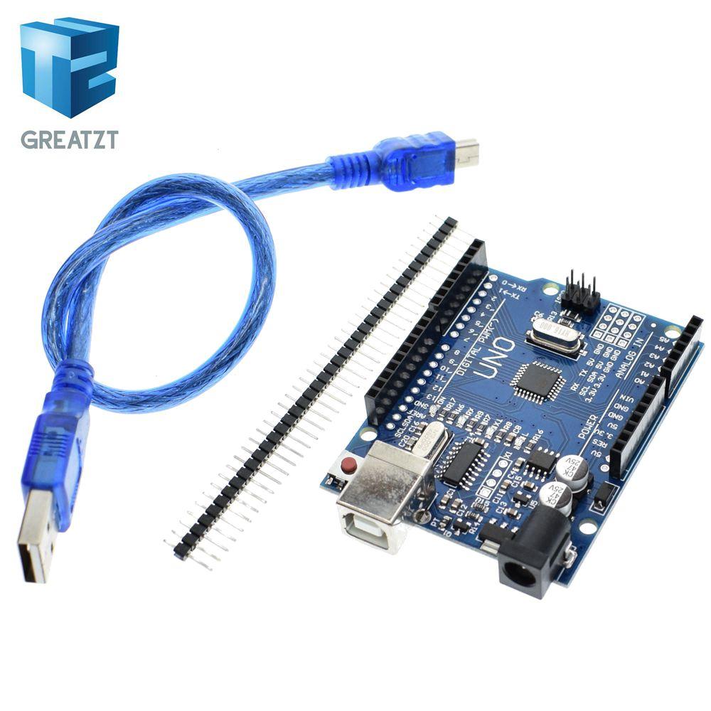 GREATZT de alta calidad conjunto UNO R3 (CH340G) MEGA328P para Arduino UNO R3 ATMEGA328P-AU Placa de desarrollo