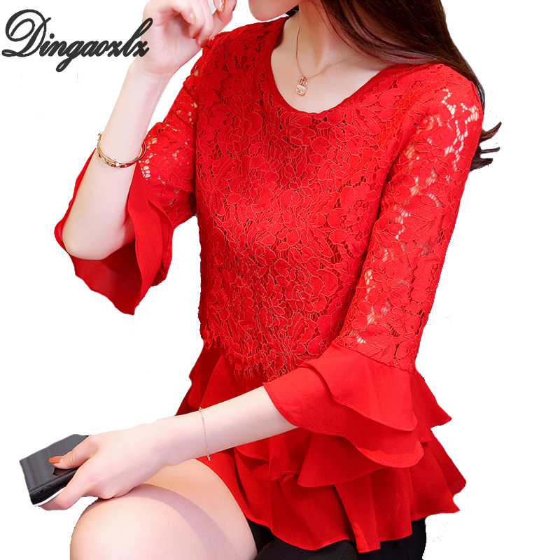 Dingaozlz 4XL Plus size clothing Casual Patchwork Lace Chiffon blouse shirt New fashion Female Crochet Tops Ruffles Women blouse