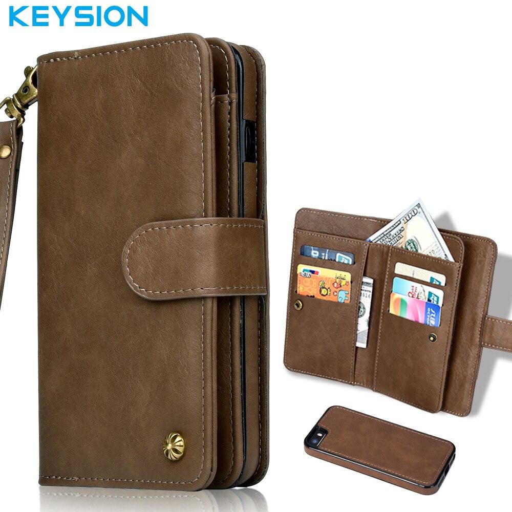 imágenes para Keysion 5S Multifuncional de Lujo Del Cuero Genuino para el iphone 2 en 1 Caso Del Soporte de la Carpeta de Cuero Cubierta Del Tirón para el iphone 5 SÍ