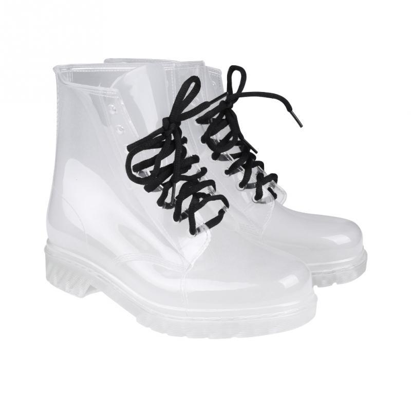 New Fashion Women Flat Transparent Clear Rubber Rain Boots