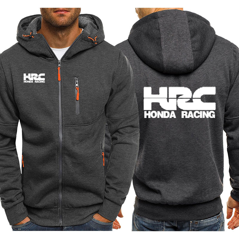 Hoodies Men HRC Race Motorcycle Car Logo Print Casual Hip Hop Harajuku Long Sleeve Mens Zipper Jacket Sweatshirts Man Hoody