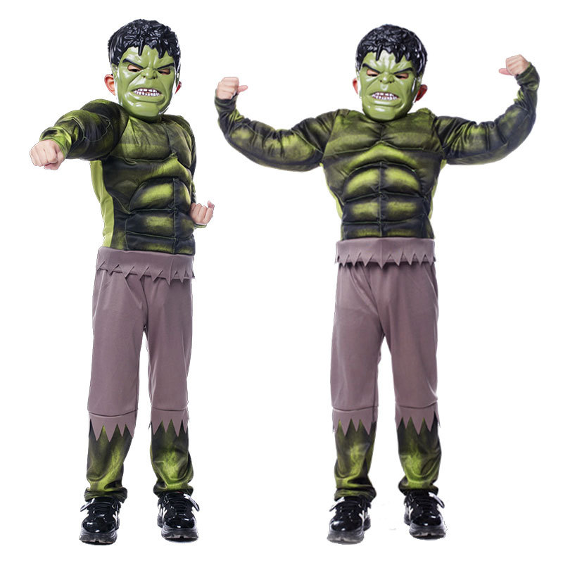 Hulk Costume Kids Boys Amazing Kids Superhero Avengers Hulk Halloween Muscle Green Cosplay Costumes