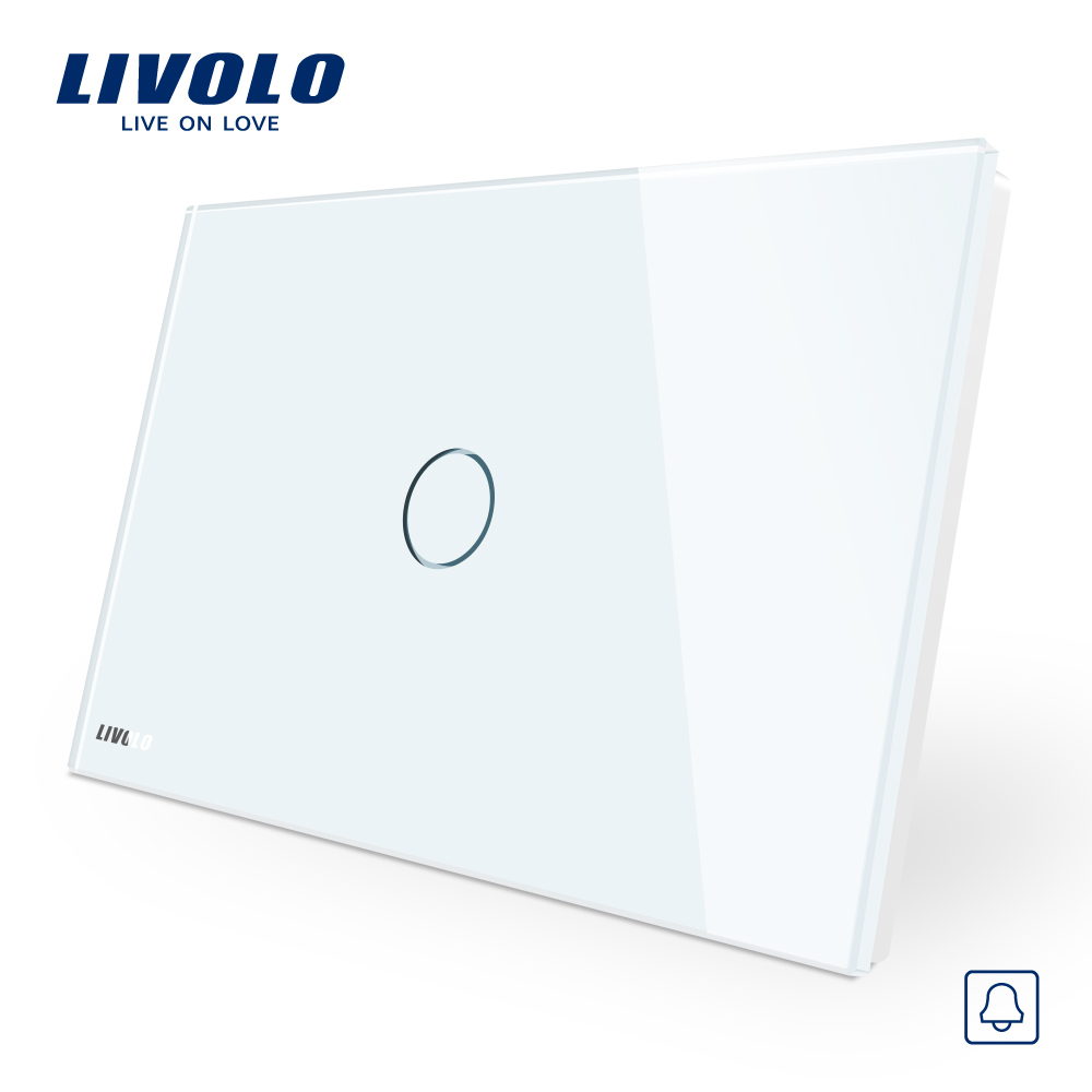 Livolo White Crystal Glass Panel, AC110~250V, LED indicator, AU/US Standard  Doorbell  Switch VL-C901B-11 mbs felicia 160 glass white