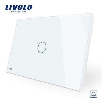 Livolo White Crystal Glass Panel, AC110~250V, LED indicator, AU/US Standard Doorbell Switch VL-C901B-11 - Category 🛒 Lights & Lighting