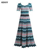 Party Dresses KENVY Brand Fashion Summer High End Slim Striped Short Sleeve Knitted Maxi Dress