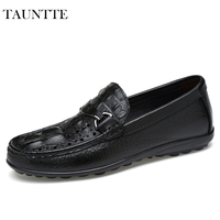 Tauntte Fashion Fretwork Genuine Leather Men Loafers Breathable Softness Crocodile Pattern Slip On Casual Driving Shoes