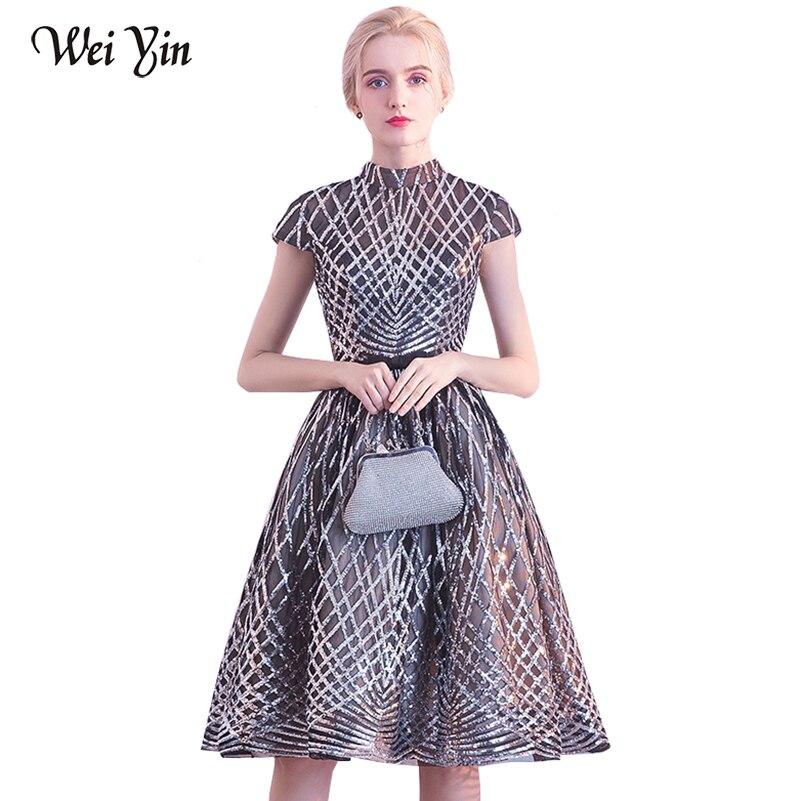 WeiYin vestido de festa High Neck Lace   Evening     Dress   Ball Gown Short Sleeve Satin   Evening   Gown Bridal Party Wear Short   Dresses