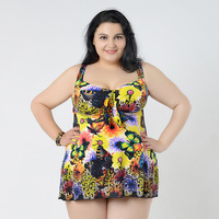 One Piece Women Swim Dress Plus Size Swimwear Large Size 2018 Beach Bathing Suit Floral Monokini