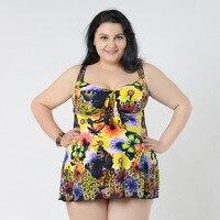 One Piece Women Swim Dress Plus Size Swimwear Large Size 2018 Beach Bathing Suit Floral Monokini