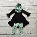 OUTONO/Inverno cachecol definir crianças terno do bebê meninas mint preto pena de impressão 100% algodão 3 peças calças de mangas compridas boutique de roupas
