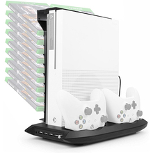 Yoteen Vertical Stand Cooling Fan for XBox One S Controller Charging Stand with Game Storage Controller Charger Game Disk Holder vertical stand cooling fan with 3 usb port for xbox one s black