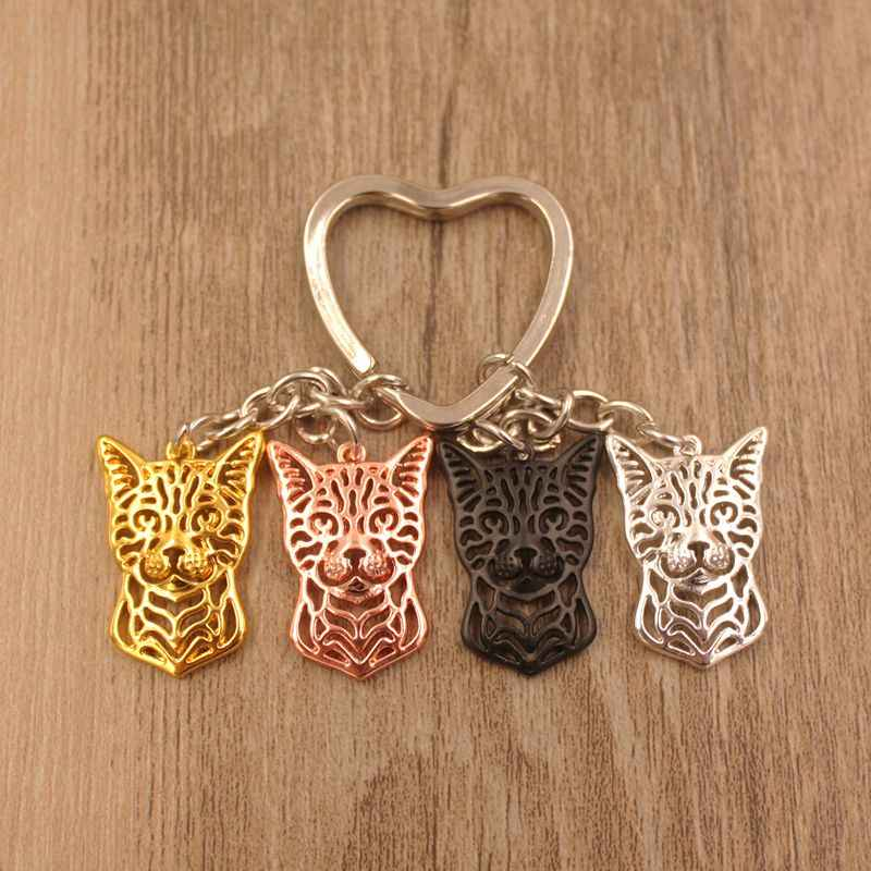 2019 Bengal Cat Animal Cute Gold Silver Plated Keychain Gift For Bag Car Women Men Girls Boys Love Jewelry Christmas