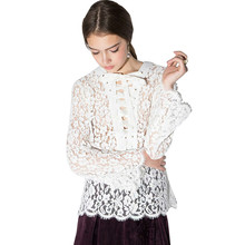 Lace Contrast Sheer Sweet Blouse Shirt Cute Casual Sexy Chic Women Shirt Tops Hollow Preppy Basic Lace Blouse