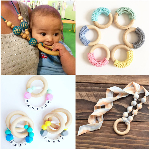 5pcs 40mm/45mm/50mm/55 Wooden Baby Teething Rings Infant Teether Toy DIY Accessories For 3-12 Month Infants Tooth Care Products 4