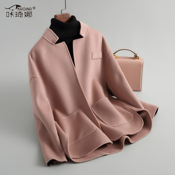 Double-side Wool Coat Female Jacket 2019 Spring Autumn Jacket Women Korean Woolen Coats Short Pink Jacket Abrigo Mujer 38009 MY