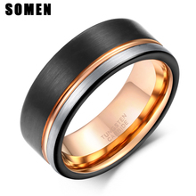 Somen Ring Men 8mm Tungsten Black Rose Gold Line Brushed Wedding Band Engagement Mens Party Jewelry Bague Homme