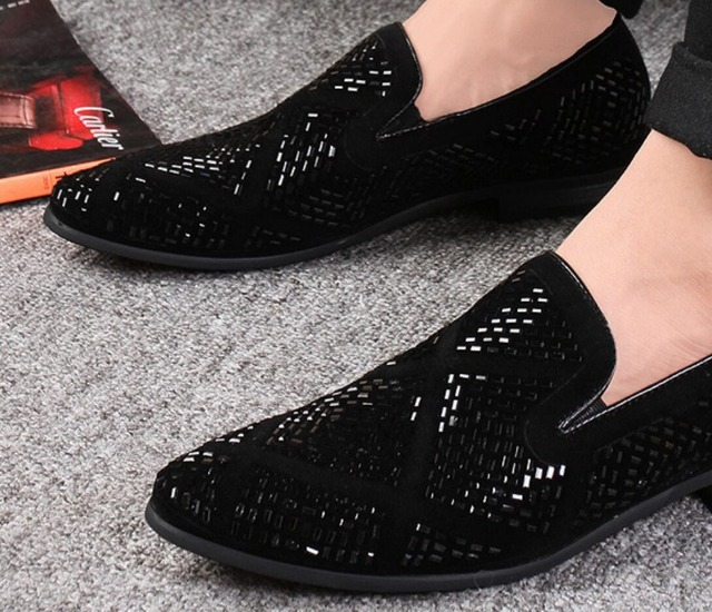 Dropshipping DHL freeshipping Loafer Shoes party Dress Casual Rhinestone Pointed Toe Flat Breathable party Dress Shoes