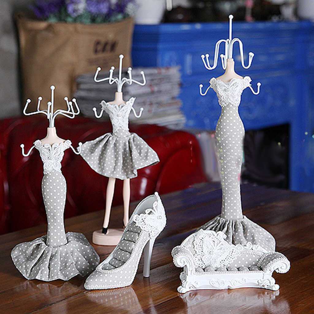 Charm Shoe Dress Mannequin Necklace Ring Holder Jewelry Organizer Display Stand Hanging High