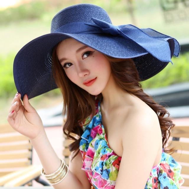 Summer Large Brim Straw Hat Floppy Wide Brim Sun Cap Bowknot Beach Foldable Hats
