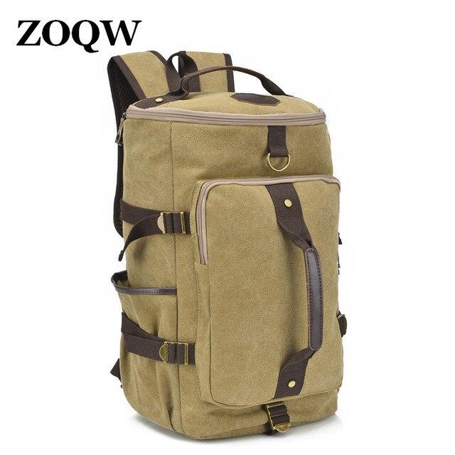 7bd9da423283 Fashionable men s backpack large capacity man travel bag mountaineering  backpack men bags canvas bucket shoulders bag SW0235