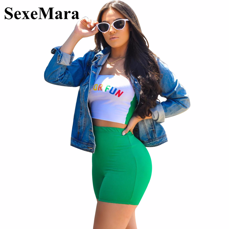 SexeMara Letter Print Sexy Two Piece Set Crop Top and Short Pants Summer 2 Piece Outfits for Women Club Matching Sets D43-AZ16 red sexy floral lace two piece outfits