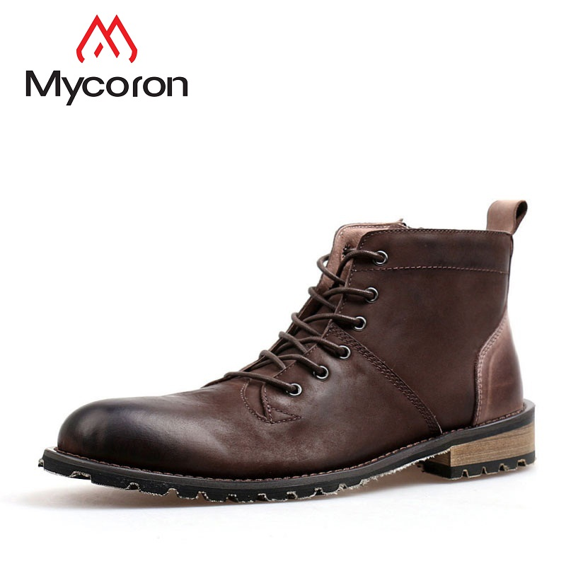MYCORON Men Boots Genuine Leather Comfort Winter Boots Shoes Work Boots Men Fashion Ankle For Winter Shoes Men Botas Hombre z suo genuine leather men boots fashion men martin boots high quality ankle boots man winter shoes botas hombre zs16508