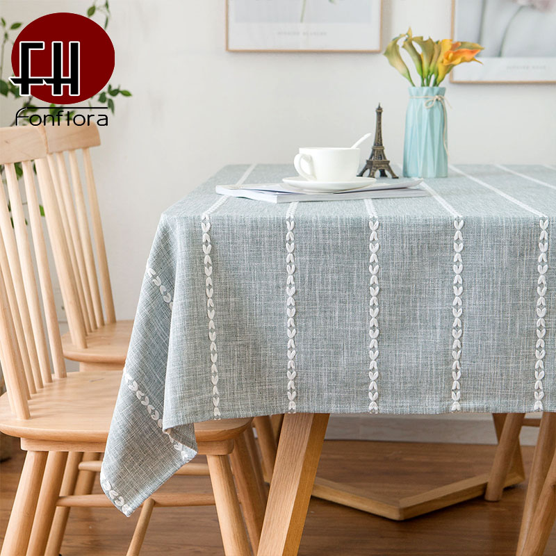 US $6.82 38% OFF|American Country Style Waterproof Table Cloth Square Type  Kitchen Table Dining Table Cover Strip Embroidery Home Decoration-in ...