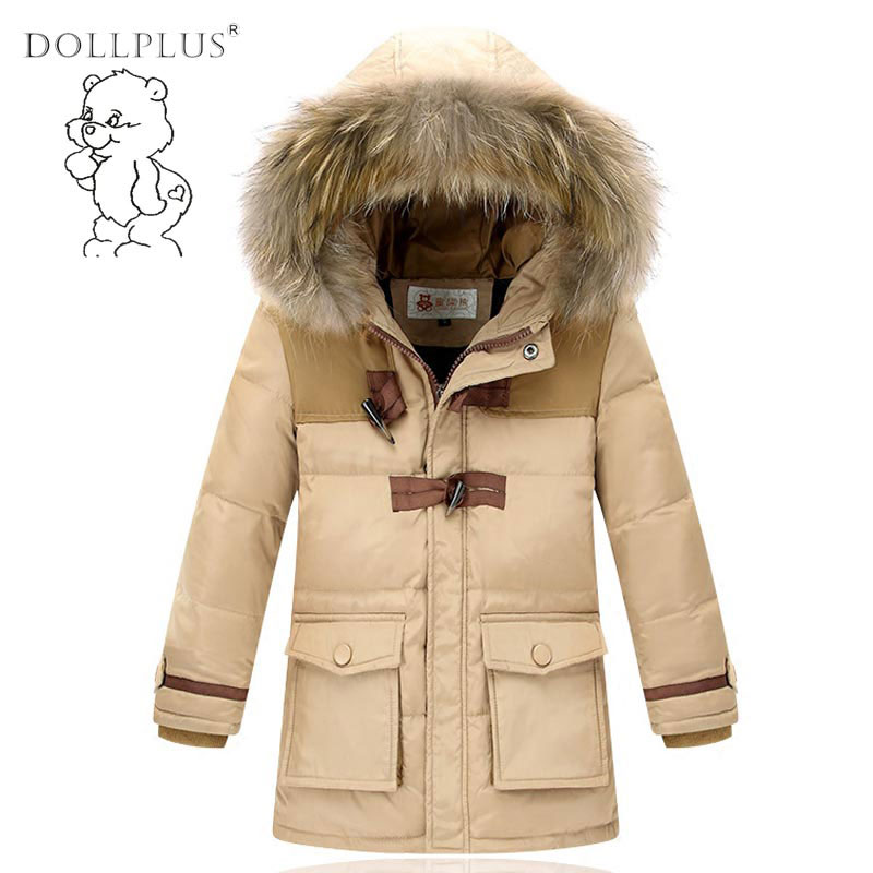Russia Winter Boys Parka Warm Thick Duck Down Jacket Big Casual Thick Fur Collar Hooded Jackets Coats Children Down & Parkas casual 2016 winter jacket for boys warm jackets coats outerwears thick hooded down cotton jackets for children boy winter parkas