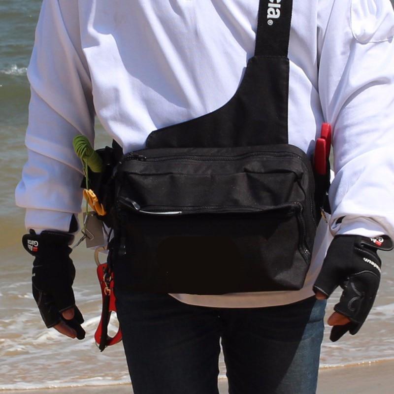 все цены на 2017 New 30*14*17cm Waist Bag Pockets Fishing Tackle Bag fishing tackle