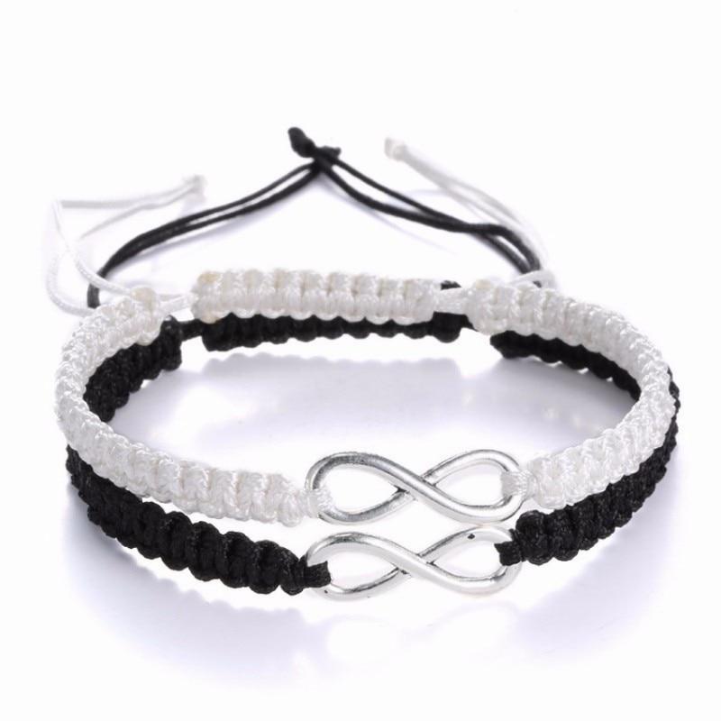 2pcs Infinity Braided Kit Bracelet Set Friendship Bracelet Set Friendly Love Couples Bracelet Set Infinity Fashion Jewelry