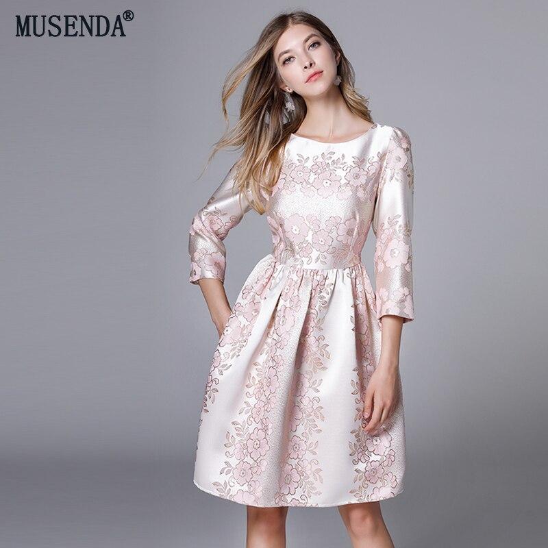 MUSENDA плюс размеры для женщин Элегантный цветочный вышивка туника драпированное платье осень 2018 г. женские милые платья для вечерин