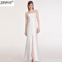 2018 Summer Fashion High Quality Long Vestidos Dress Elegant Strapless High Split Special Occasion Floor Length Dresses C1311
