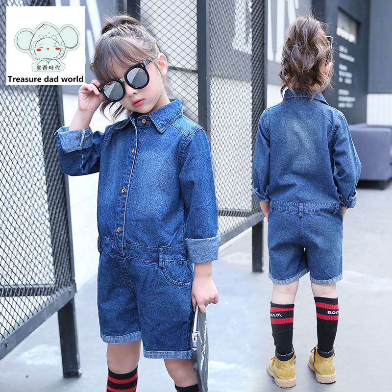 Treasure dad world Girl Jeans Jumpsuits 2017 new style Children Baby pants Overalls Girl Denim Jumpsuit Blue Girls Clothing long denim overalls male suspenders front pockets men s ripped jeans casual hole blue bib jeans boyfriend jeans jumpsuit or04