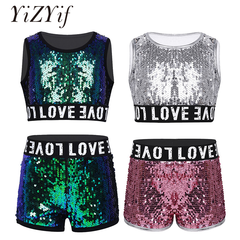 YiZYiF Girls Hiphop Jazz Dance Costumes Cheerleader Clothes Kids Shiny Sequins Sleeveless Crop Top With Shorts Halloween Set