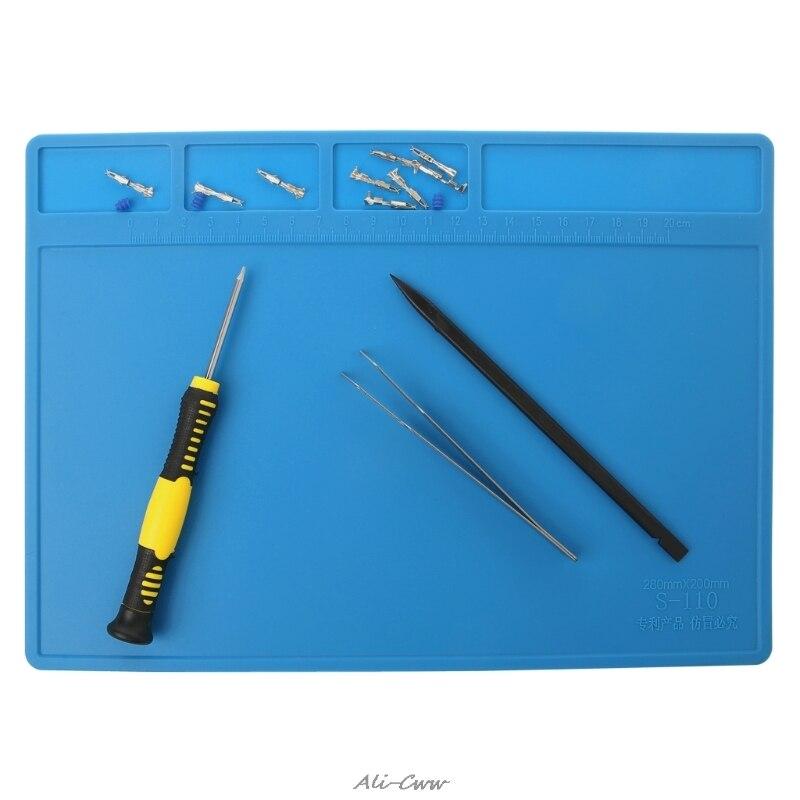 Heat Insulation Silicone Soldering Pad Repair Maintenance Platform Desk Mat 28x20cm
