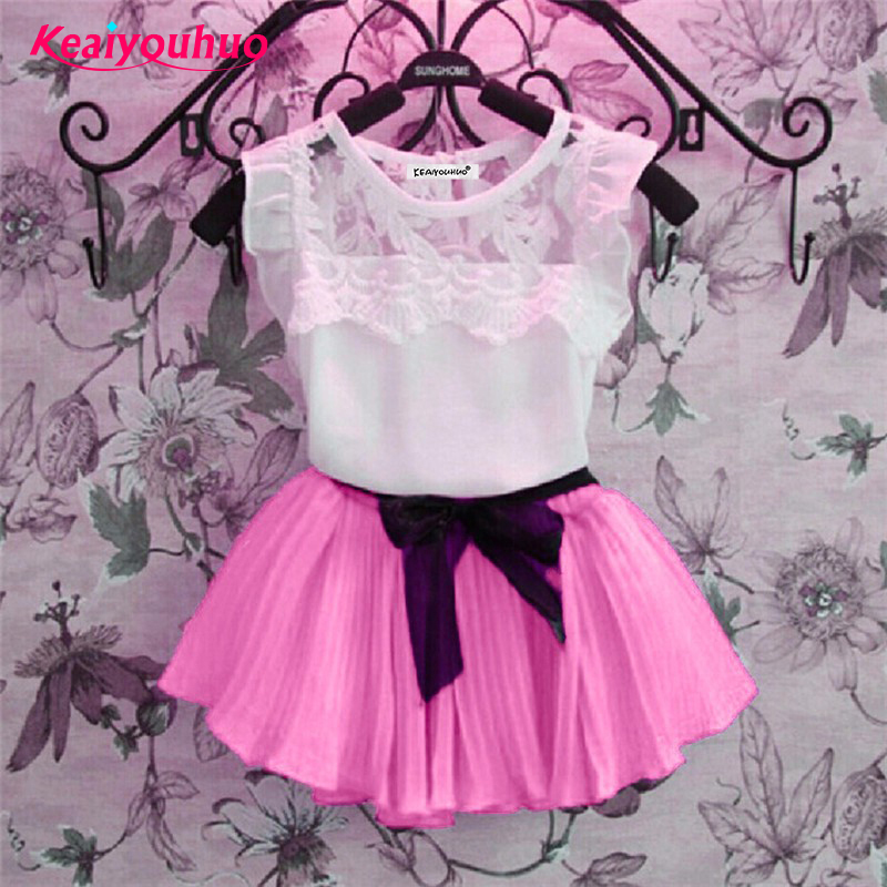 Baby Girls Clothes 2017 Summer girl clothing sets lace T-Shirt+tutu Skirt sets Children 2pcs Suit clothing set 3-4-5-6-7-8 years lady bug girls t shirt set tutu skirt and headband girl tutu sets birthday festival party cosplay children s clothing pt57