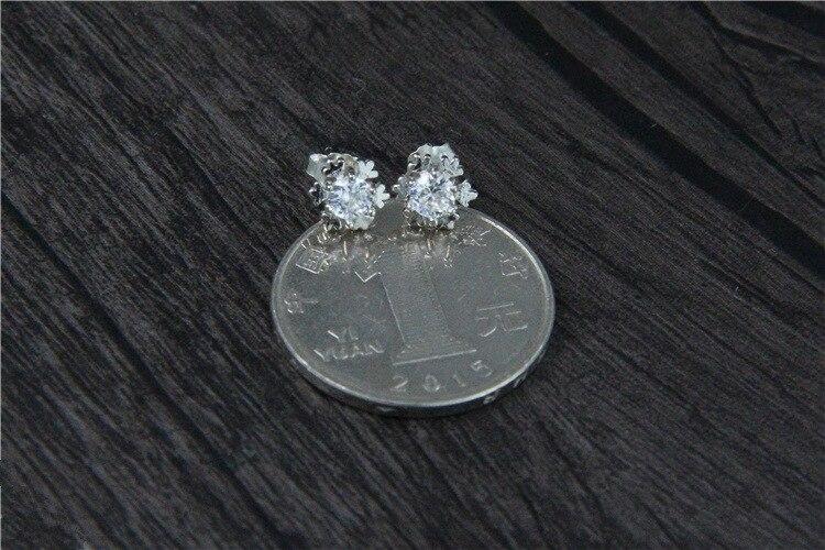 GLSEEVO 925 ստերլինգ արծաթե Snowflake Stud - Նուրբ զարդեր - Լուսանկար 5
